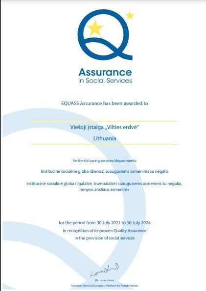 """VšĮ """"Vilties erdvė"""" suteiktas EQUASS Assurance kokybės sertifikatas"""